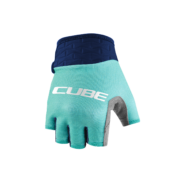 CUBE PERFORMANCE JUNIOR Kerékpáros Kesztyű Rövid Ujjú - Blue / Mint