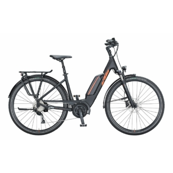 KTM MACINA FUN A 510 EASY ENTRY black matt (orange+grey) Unisex Elektromos Trekking Kerékpár 2021