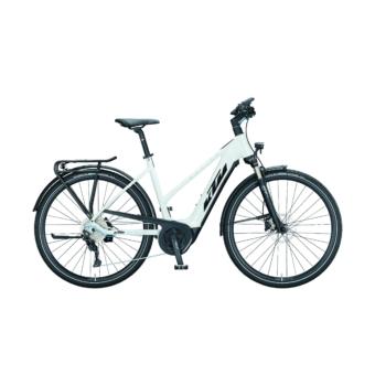 KTM MACINA SPORT P610 TRAPÉZ metallic white (black+blue) Női Elektromos Trekking Kerékpár 2021