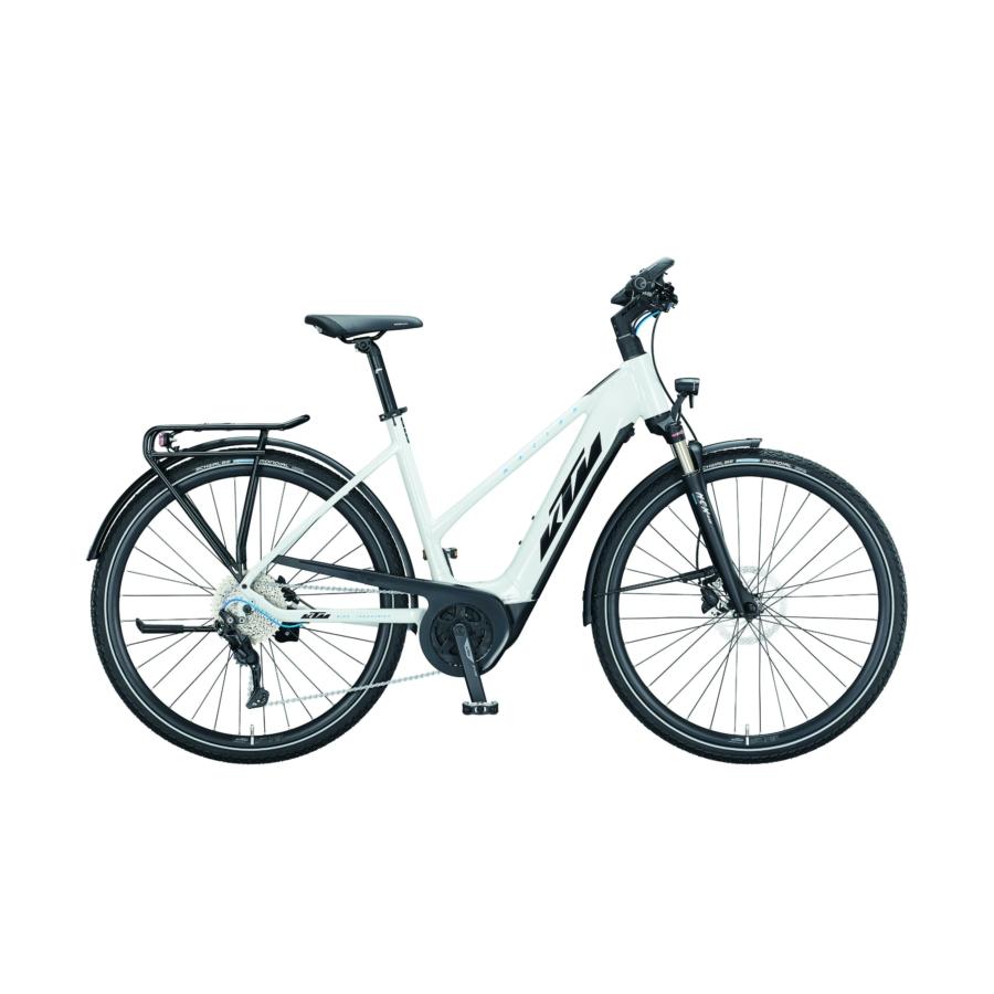 KTM MACINA SPORT P610 metallic white (black+blue) Férfi Elektromos Trekking Kerékpár 2021